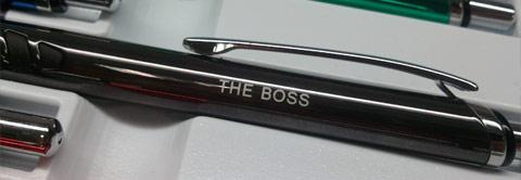 The Boss engraved on pen