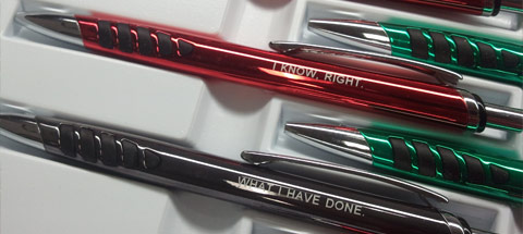 What Have I Done engraved on pen