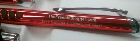 TheFreebieBlogger.com engraved on pen