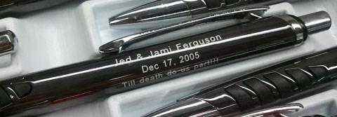 Wedding imprint theme on engraved pens