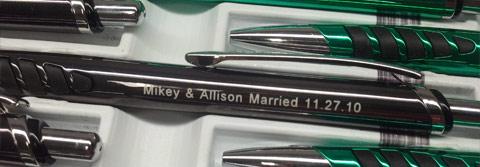 Engraved Pens as wedding favors