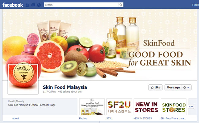 Skin Food Malaysia Facebook Cover / Timeline