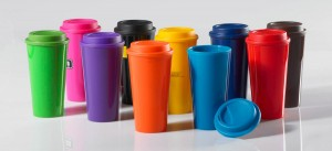 Colorful to-go coffee tumblers