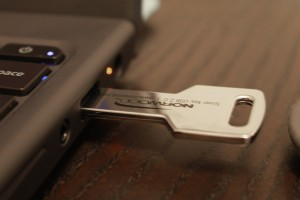 Custom USB Key Drive, inserted