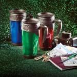 Travel mugs, Keys, Camera, and Notes