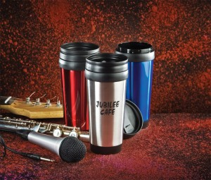 Coffee tumblers for Cafe's Open Mic Night