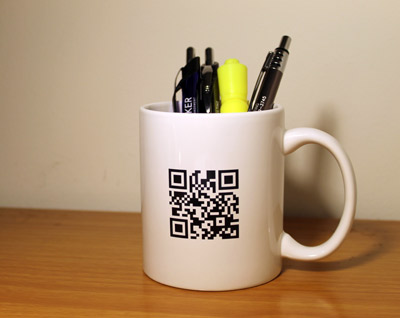 promo mugs with qr code. Black Bedroom Furniture Sets. Home Design Ideas