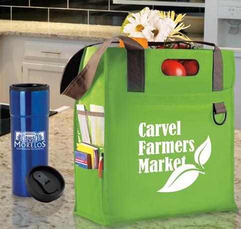 branded retail bag and travel mug