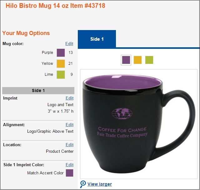 promotional mugs in assorted colors