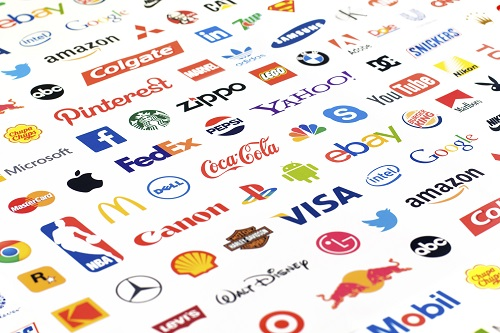 Zaporozhye, Ukraine - May 26, 2015: Photo of a logotype collection of well-known world brand's printed on paper. Include Coca-Cola, YouTube, Pepsi, Canon, McDonald's, Google, Facebook, Twitter, Apple and more others logo.